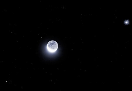 Яркие планеты, лунный серп
